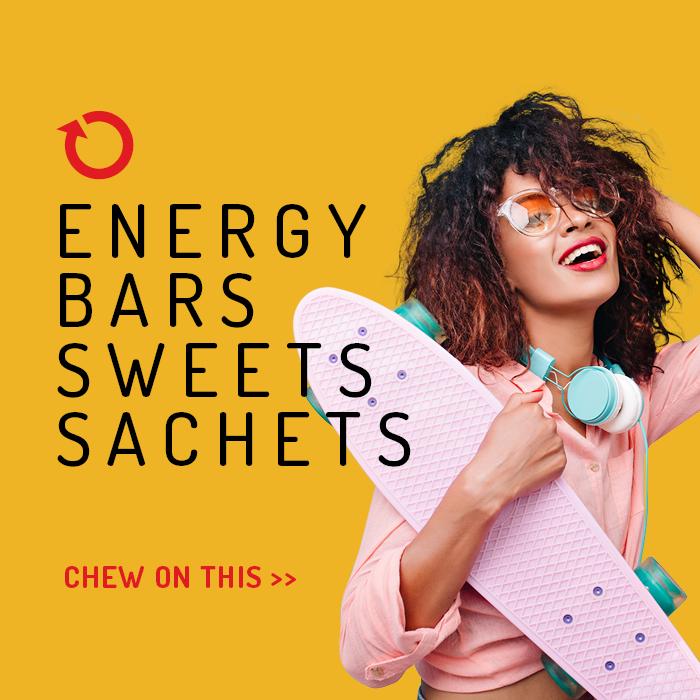 Energy bars sweets sachets